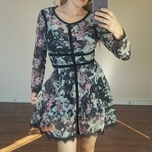 GORGEOUS black flower lace winter fall dress